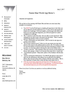 Fannie Mae World App Memos Fill Online Printable Fillable