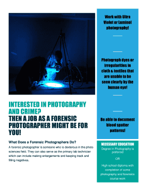 Printable Forensic Photography Jobs Forms And Document Blanks To