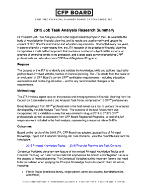 Fillable Online CFP Board's Job Task Analysis (JTA) is the