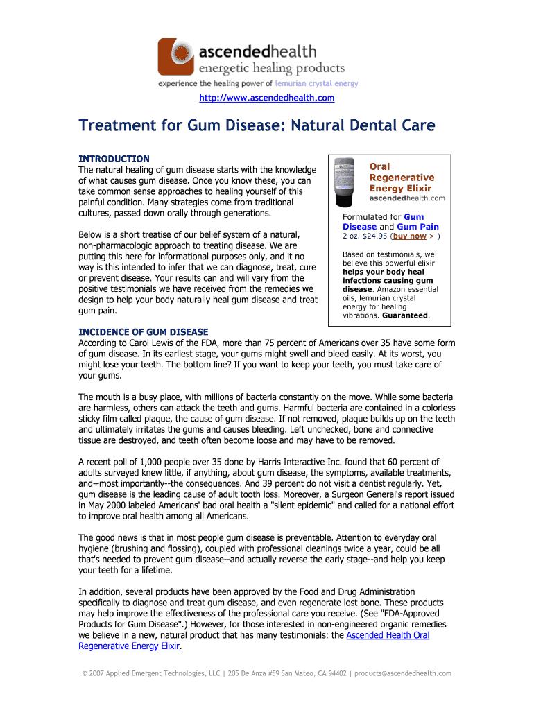 Treatment for Gum Disease: Natural Dental Care Fill Online