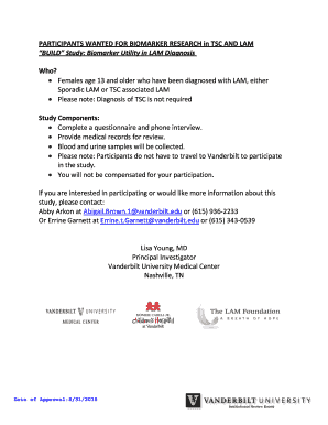 PARTICIPANTS WANTED FOR BIOMARKER RESEARCH in TSC AND LAM
