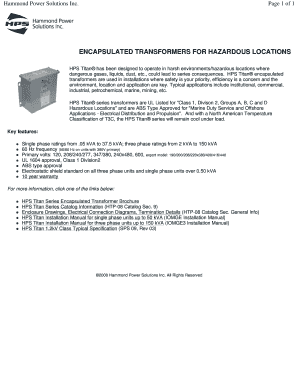 Fillable hammond power solutions transformer Forms and ... on