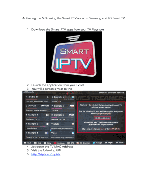 Fillable Online Activating the M3U using the Smart IPTV apps on