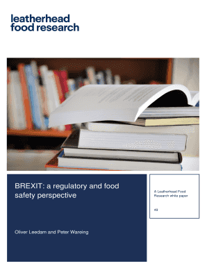 BREXIT A Regulatory And Food
