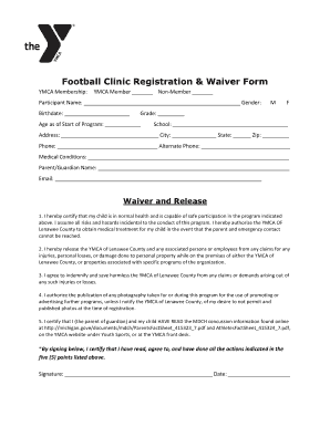 Get football waiver form samples to fill online in pdf football clinic registration waiver form altavistaventures Choice Image