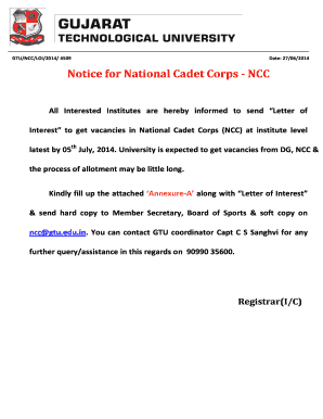 Get ncc letter Samples to Fill Online in PDF
