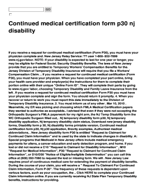 continued medical certification form p30 nj fill online printable