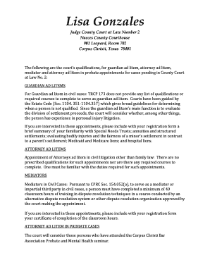 Editable attorney ad litem texas probate Templates to Submit