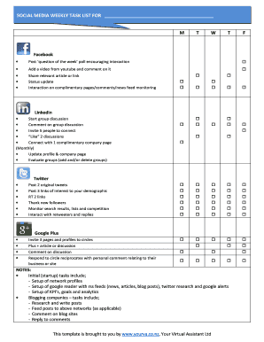 Fillable Online Social Media Weekly Task List For Fax Email