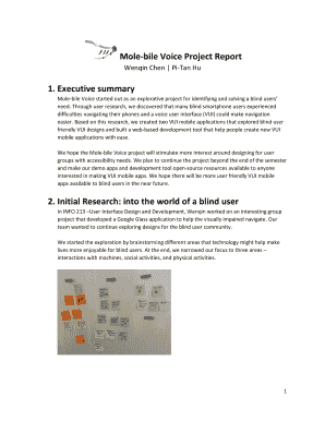 Fillable Online Mole-bile Voice Project Report Fax Email Print