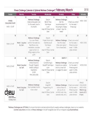 Fitness Challenge Calendar Optional Wellness Challenges