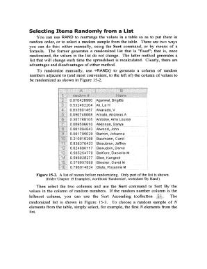 Complete Editable random list generator Form Samples Online in PDF