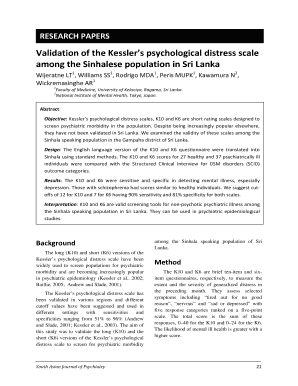 Validation of the Kesslers psychological distress scale Fill