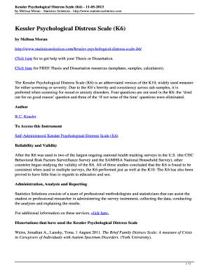 Kessler Psychological Distress Scale (K6) Fill Online, Printable
