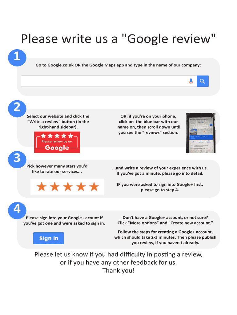 "Please write us a ""Google review"" Fill Online, Printable ..."
