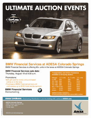 BMW Financial Services at ADESA Colorado Springs Fill Online