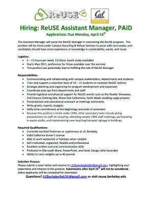 Fillable Online Hiring: ReUSE Assistant Manager, PAID Fax Email