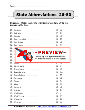 Fillable Online State Abbreviations 26-50 Fax Email Print ... on 50 state nicknames, 50 state codes, 50 state resources, 50 state signs, 50 state symbols, 50 state bordering states, 50 state names, printable usa state abbreviations, 50 state capitals, 50 state maps, united state abbreviations, 50 state flags, 50 state sports,