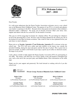 pta welcome letter to parents it is with great enthusiasm that the parent teacher association welcomes you to a new school