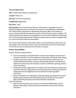 Business Administration Job Description | Fillable Business Administration Job Description And Salary Edit