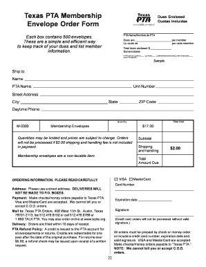 Fillable texas pta membership envelopes - Edit Online, Print