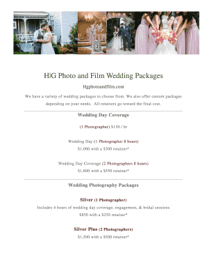Wedding Photography Packages.Wedding Photography Packages Pdf Fillable Form Document