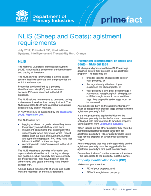 NLIS (Sheep and Goats): agistment Fill Online, Printable
