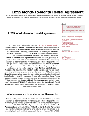 Lf255 Month To Month Rental Agreement Fill Out Online