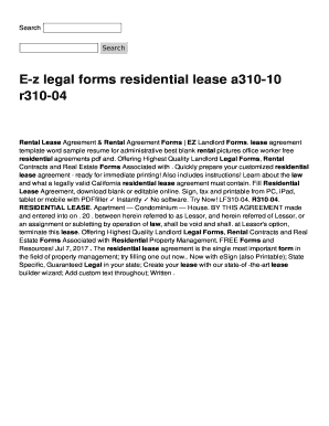 Residential Lease Apartment Condominium House Fill Out Online - Ez legal forms