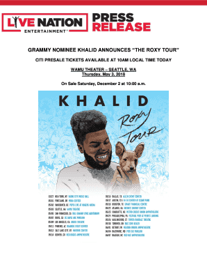 Fillable Online GRAMMY NOMINEE KHALID ANNOUNCES THE ROXY TOUR Fax