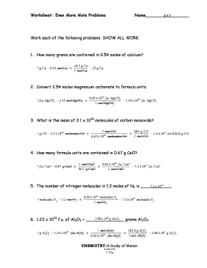 Worksheet Even More Mole Problems Answer Key - Geotwitter Kids ...