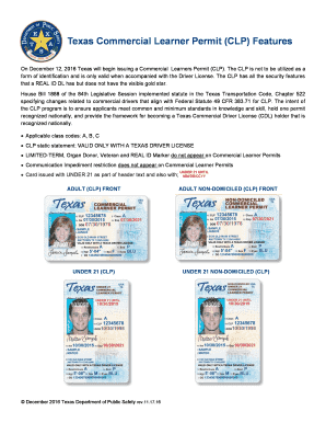 Fillable Online Texas Commercial Learner Permit Clp Features Fax