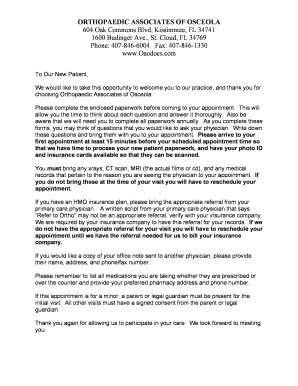 ORTHOPAEDIC ASSOCIATES OF OSCEOLA Fill Online, Printable