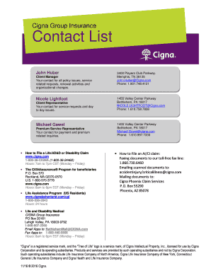 cigna disability contact to Download in Word & PDF ...