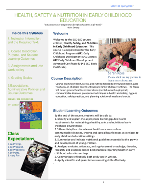 Fillable Health And Safety In Early Childhood Edit Online