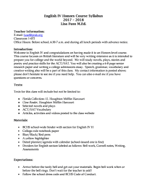 Fillable Online English IV Honors Course Syllabus Fax Email