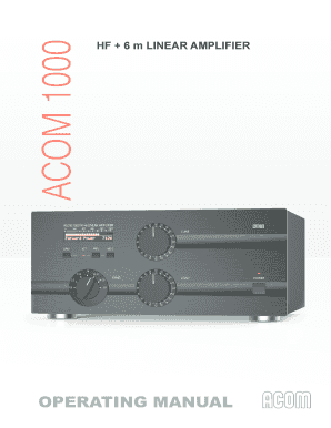 Fillable Online HF + 6 m LINEAR AMPLIFIER - acom Fax Email