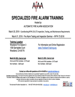 Fillable Online Specialized Fire Alarm Training Afaa Org Fax Email