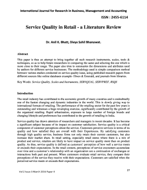 Literature review on customer satisfaction in retail store