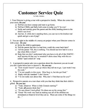 Fillable Online Customer Service Quiz Fax Email Print