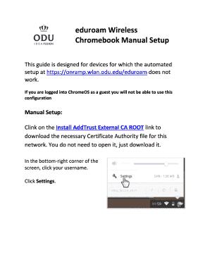 Fillable Online eduroam Wireless Chromebook Manual Setup - ODU Fax