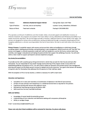 Fillable Online Sample Job Posting Template Fax Email Print Pdffiller
