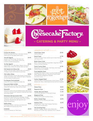 photo about Cheesecake Factory Printable Menu named Catering Menu - The Cheesecake Manufacturing unit Fill On the web