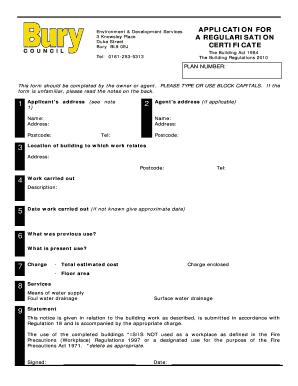 Fillable Online application for a regularisation certificate