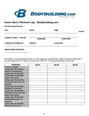 fillable online kevin hart s workout log bodybuilding com fax