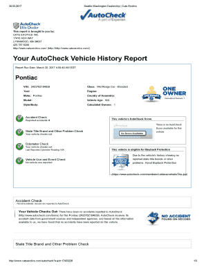 Free Vehicle History Report Online >> Editable Autocheck Vehicle History Report Free Samples Online In Pdf