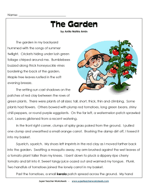 Fillable Online The Garden - Super Teacher Worksheets Fax Email ...