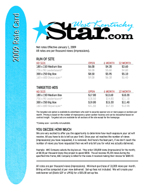 Fillable Online West Kentucky Star rate card 1 Fax Email