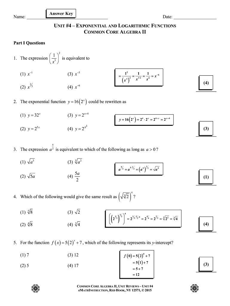 Fillable Online CC Algebra II Unit #4 Review Answer Key Fax Email