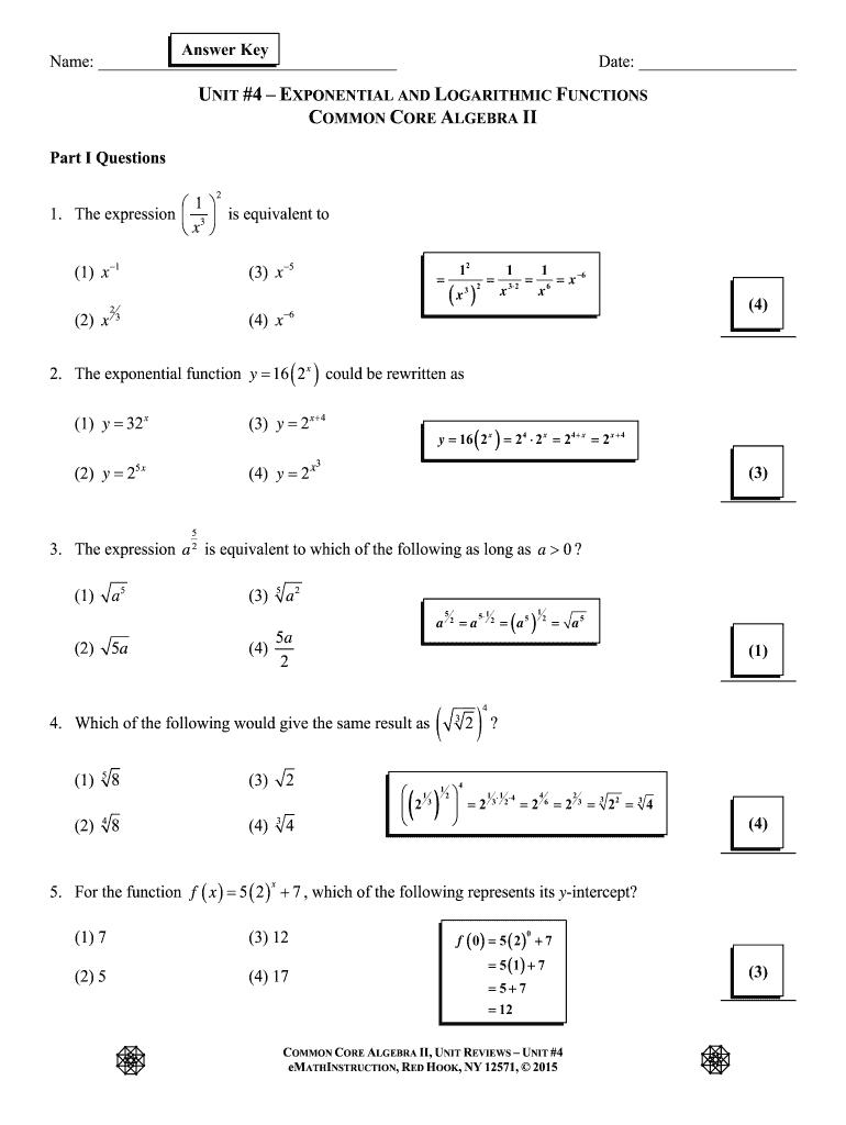 Fillable Online CC Algebra II Unit #4 Review Answer Key Fax